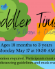 toddler time in person and outdoors monday may 17 10:30 am ages 18 months to 3 years registration required