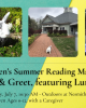 Three photos of Lumpi the bunny with green and yellow background nesmith library tails and tales