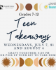 teen takeaways moon sun star graphic with program text