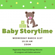 baby storytime on zoom, march 31 10:30 AM registration required