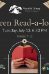 graphite colored background, arch frame with open book image, text: teen read-a-loud