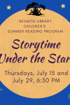 dark blue background with yellow stars yellow circle text: storytime under the stars